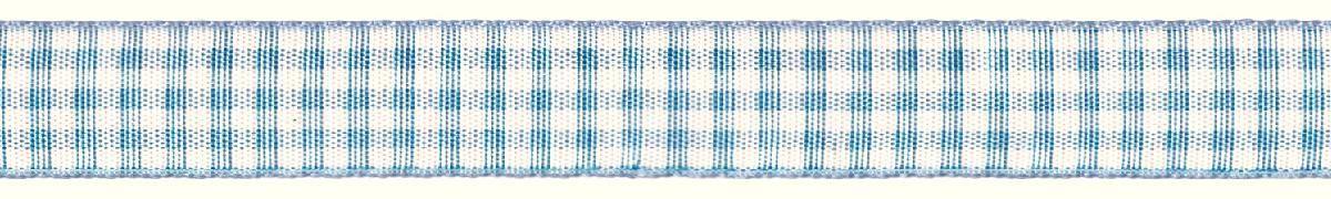 Лента декоративная Prym Клетка, цвет: белый, голубой, 15 мм, 3 м907353