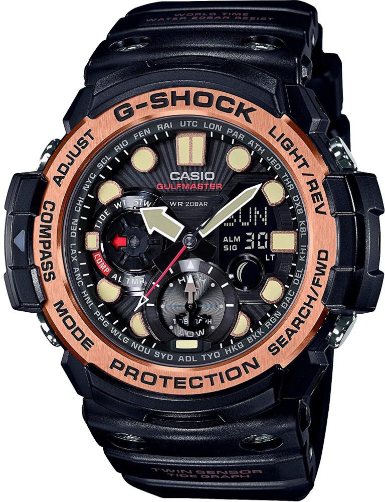 Наручные часы мужские Casio G-Shock, цвет: черный, золотистый. GN-1000RG-1AGN-1000RG-1A