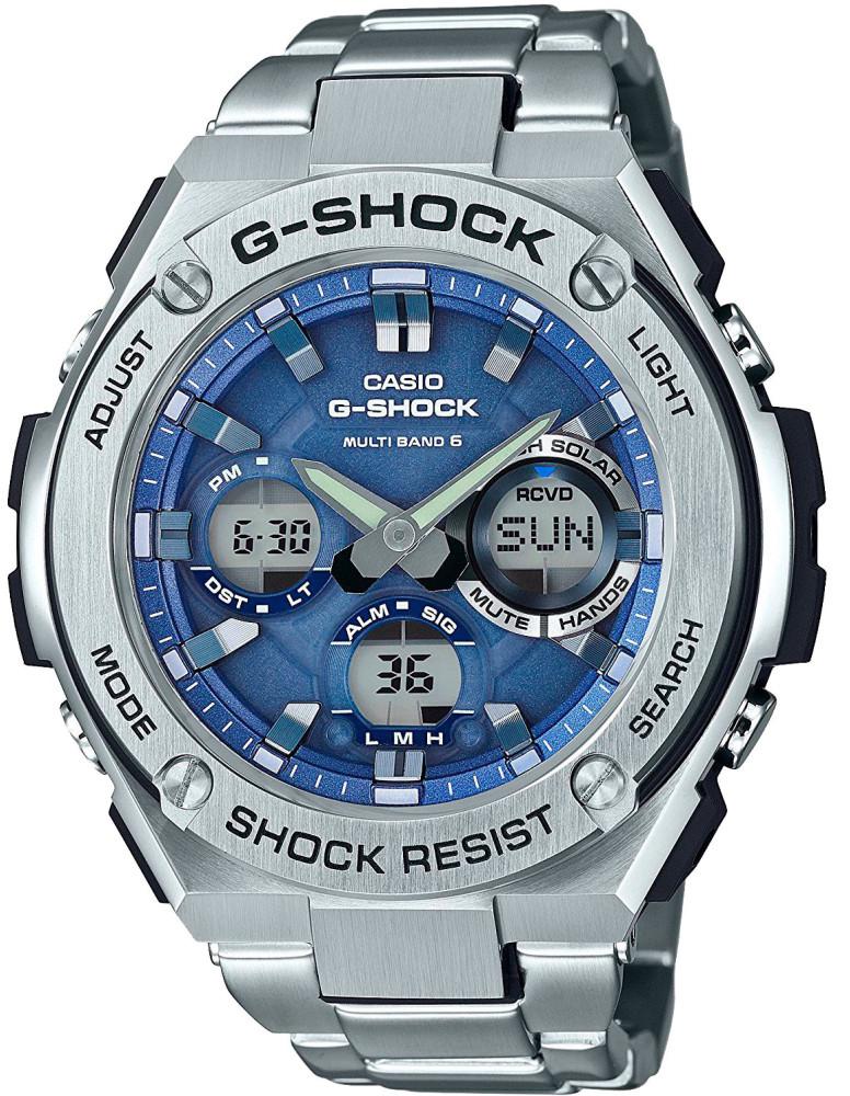 Наручные часы мужские Casio G-Shock, цвет: стальной, синий. GST-W110D-2AGST-W110D-2A