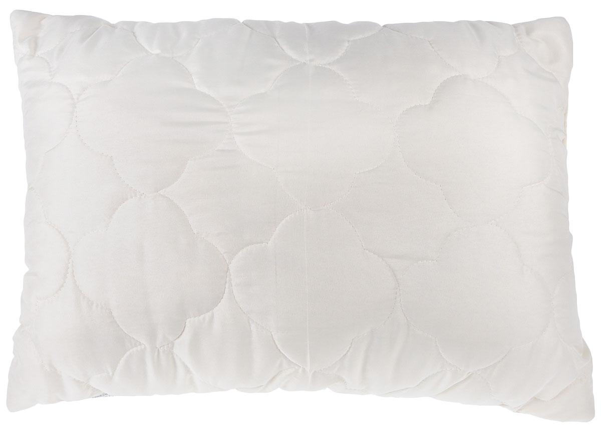 Подушка Lara Home Wool, наполнитель: овечья шерсть и силиконизированное волокно, цвет: бежевый, 48 х 68 см85273Подушка Lara Home Wool подарит комфорт и уют во время сна. Чехол, выполненный из микроволокна (100% полиэфира), оформлен фигурной стежкой и надежно удерживает наполнитель внутри. Наполнитель выполнен из силиконизированного волокна и овечьей шерсти породы меринос. Особенности подушки: Высокая воздухопроницаемость. Необычайная мягкость и легкость. Обеспечивает хорошую терморегуляцию.