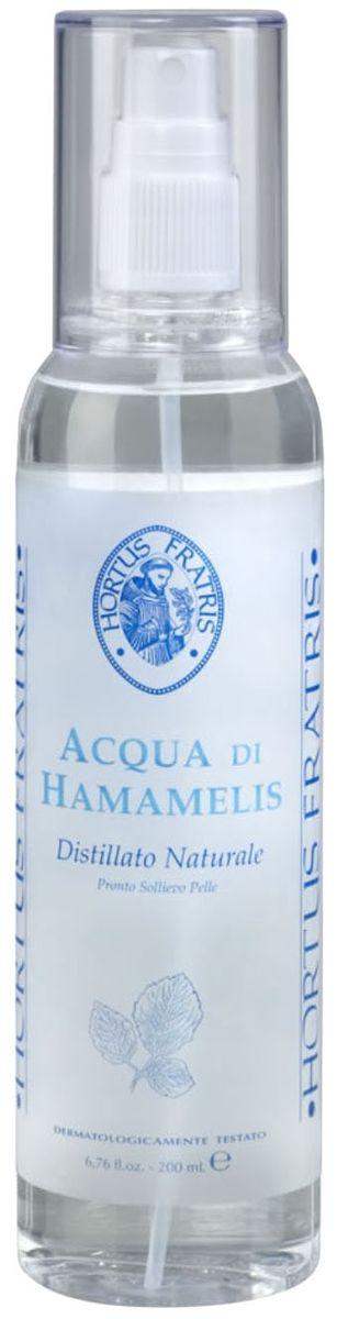 Hortus Fratris вода-спрей с экстрактом гамамелиса, 200 мл14103Средство быстрой помощи при любом раздражении кожи. Снимает отечность, покраснение, зуд при солнечных ожогах, укусах насекомых, успокаивает кожу после эпиляции или бритья. Предупреждает и уменьшает раздражение на коже, вызванное действием секрета потовых желез, поэтому является незаменимым средством после занятий спортом. Прекрасно освежает и тонизирует кожу.