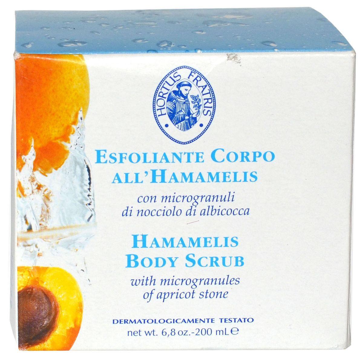 Hortus Fratris скраб для тела с экстрактом гамамелиса, 200 млБ33041_шампунь-барбарис и липа, скраб -черная смородинаПрекрасно очищает кожу. Делает ее необычайно мягкой и бархатистой. Благодаря косточкам абрикоса оказывает пилингующее действие, способствует деликатному удалению отмерших клеток кожи. Экстракт гамамелиса успокаивает, смягчает и освежает. После процедуры кожа становиться свежей, легко дышит.