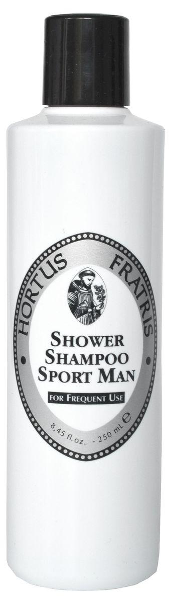 Hortus Fratris шампунь для мужщин спорт, 250 мл18106В тренажерном зале, в путешествии, он всегда нужен в твоей ванной комнате. Шампунь для душа Hortus Fratris, одним движением руки дарит уход телу и волосам. Это моющий, очищающий и ароматный шампунь для душа. Очень нежный благодаря входящему в его состав экстракту Гамамелиса.