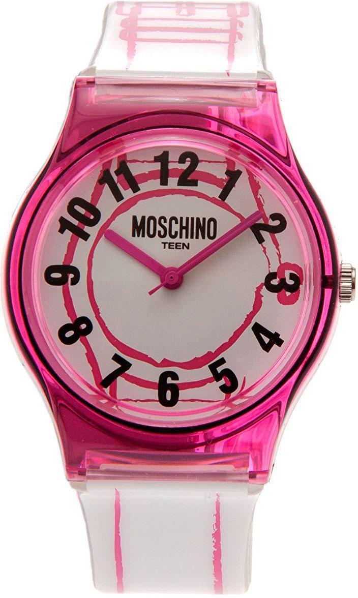 Наручные часы для девочки Moschino, цвет: бело-розовый. MW0319MW0319Наручные часы Moschino, кварцевые, корпус из пластика