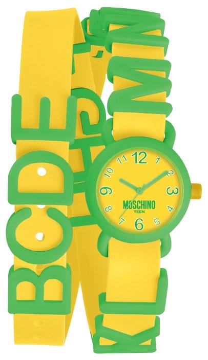 Наручные часы для девочки Moschino, цвет: желтый, зеленый. MW0329BM8434-58AEНаручные часы Moschino, кварцевые, корпус из пластика