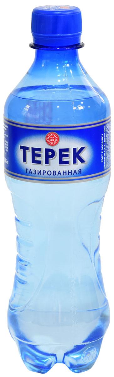 Терек вода минеральная, газированная, 12 х 0,5 л232-11Натуральная минеральная столовая вода, имеет природное происхождение. По микроэлементному составу полностью идентична хлоридно-гидрокарбонатным минеральным водам Кавказа. Рекомендована к регулярному использованию для питья и приготовления пищи. Не содержит каких либо вредных и токсичных элементов, способствует очищению организма от шлаков, улучшает обмен веществ, повышает иммунитет. Скважина № 81214, глубина 260 метров.