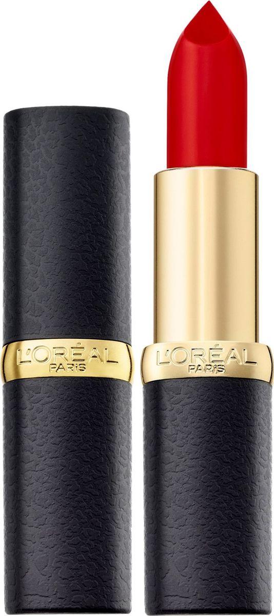 LOreal Paris Матовая губная помада Color Riche, оттенок 346, Красное совершенство, 4,5 млA9108300Насыщенные оттенки помад для губ Колор Риш для абсолютно матового результата. Ухаживающая формула создает матовый эффект на губах, увлажняя их: масло камелии способствует комфортному нанесению помады, масло жожоба позволяет продукту долго оставаться на губах и не выходить за их контур. 10 самых матовых оттенков. Чувственные, изысканные, с Парижским шиком.