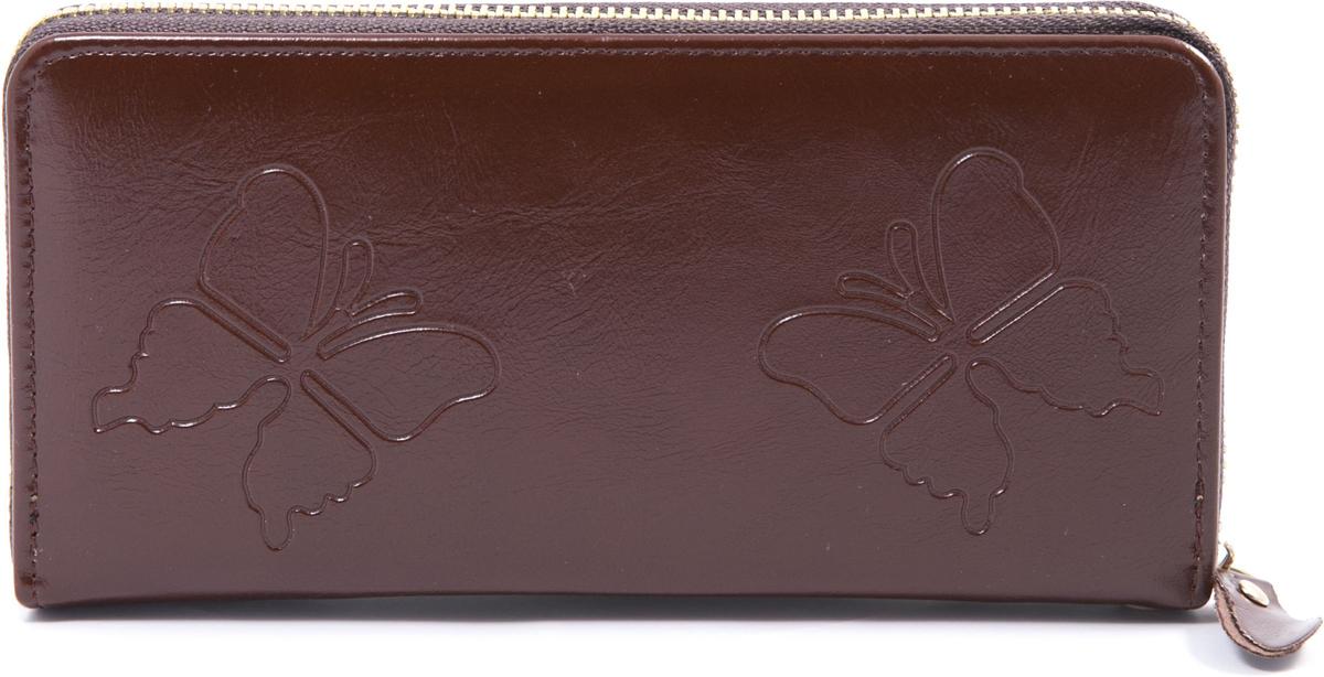 Кошелек женский Mitya Veselkov, цвет: коричневый. K4-BUTTERFLY-BROWNICE 8508Кошелек женский Mitya Veselkov изготовлен из искусственной кожи с тиснением в виде бабочек. Модель закрывается на молнию. Внутри содержатся 3 отделения для купюр, карманы для карточек и карман на молнии для мелочи.