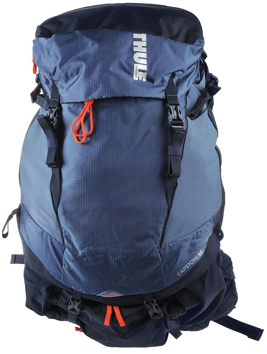 Рюкзак туристический мужской Thule Capstone, цвет: синий, 50 л223101Туристический мужской рюкзак Thule Capstone идеален для однодневного пешего похода или непродолжительного похода легкого уровня. Имеет полностью регулируемую подвеску, воздухопроницаемую заднюю панель и вшитый дождевой чехол. Система крепления MicroAdjust позволяет отрегулировать ремень для торса на 10 см при надетом рюкзаке, чтобы добиться идеальной посадки. Сеточная задняя панель натягивается, обеспечивая превосходную воздухопроницаемость и позволяя вам не потеть и оставаться сухим в пути. Яркая съемная накидка от дождя обеспечивает сухость ваших принадлежностей во время ливней. Карманы с застежкой-молнией на крышке и набедренном ремне для хранения солнцезащитных очков и других мелких предметов. Доступ сверху, сбоку и снизу позволяет легко добраться до содержимого в дороге, а также загружать рюкзак и вынимать из него вещи. Эластичный карман Shove-it Pocket обеспечивает быстрый доступ к часто используемым предметам. Боковые стягивающие ремни позволяют закрепить груз на петлях или...
