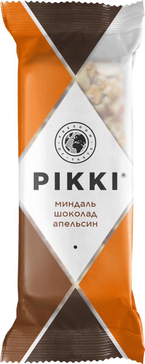 Pikki Миндаль-Шоколад-Апельсин батончик орехово-фруктовый, 35 г0120710Натуральные ингредиенты без консервантов, красителей, усилителей вкуса, классическая плоская упаковка, которую удобно взять с собой, и приятный хруст - вот залог популярности хрустящих батончиков Pikki.