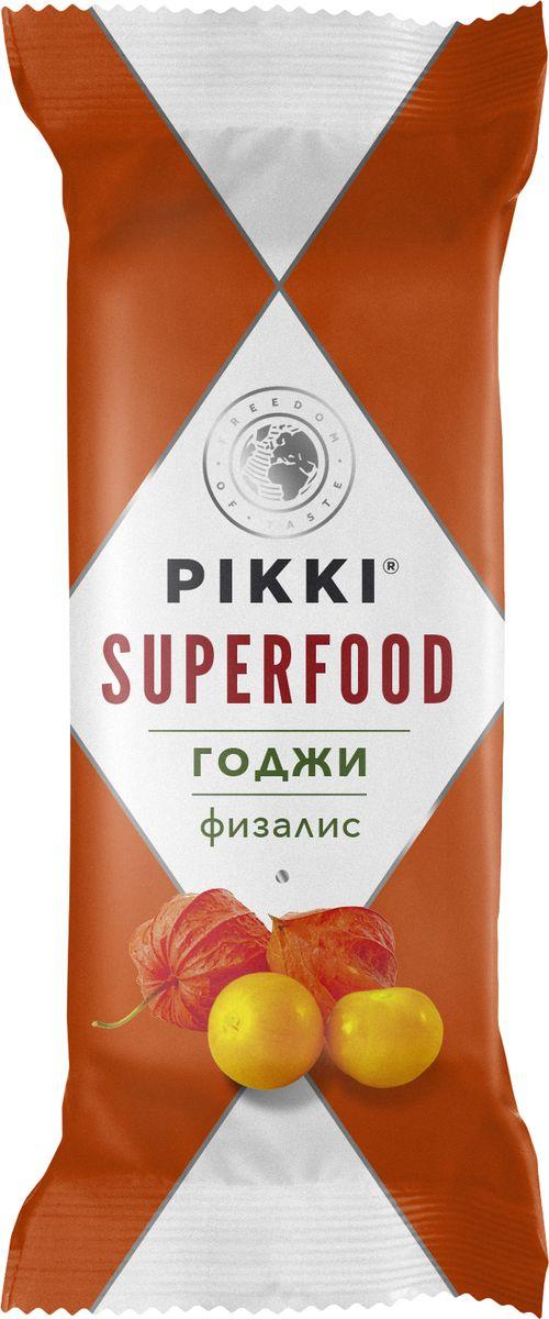 Pikki Годжи-Физалис батончик орехово-фруктовый, 35 г0120710Ягоды годжи – легендарные китайские ягоды долголетия, веками использовавшиеся для защиты печени, улучшения зрения и стимуляции иммунной системы и циркуляции крови. Они богаты минералами и аминокислотами, витаминами В1, В2, В6 и Е и в них в 100 раз больше витамина С, чем в апельсинах. Плоды физалиса, которые добавлены в этот батончик вместе с финиками, изюмом, семенами подсолнечника и миндалем богаты микроэлементами и органическими кислотами, нормализующими кислотно-щелочной баланс, а также антиоксидантами и клетчаткой.