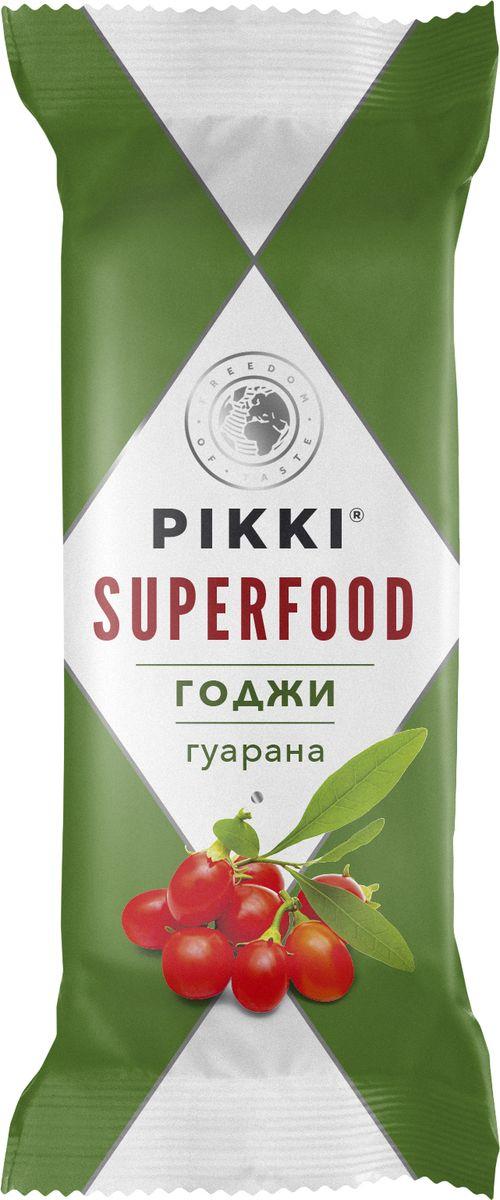 Pikki Годжи-Гуарана батончик орехово-фруктовый, 35 г0120710Польза ягод годжи в этом суперфуд-батончике усилена полезными свойствами гуараны. Экстракт гуараны стимулирует центральную нервную систему, повышает физическую работоспособность, выносливость, активирует жировой обмен, важный для продолжительных физических нагрузок или для похудения. Он рекомендуется для всех видов деятельности, требующих высоких нагрузок, физической и интеллектуальной выносливости, концентрации, внимания и координации.