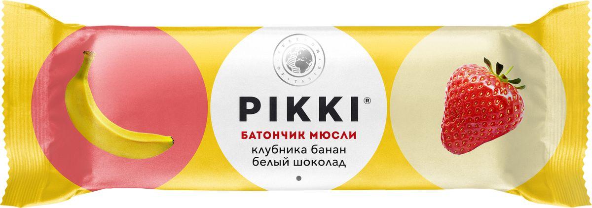 Pikki Мюсли Клубника-Банан-Белый шоколад батончик орехово-фруктовый, 50 гУТ040810418Полезные снеки из орехов, злаков и сухофруктов для быстрого перекуса.