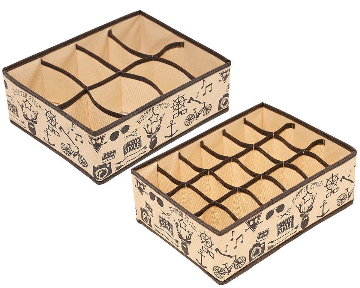 Набор органайзеров Homsu Hipster Style, 31 х 24 х 11 см, 2 штDEN-84Этот комплект состоит из прямоугольного и плоского органайзера с 18 раздельными ячейками 7см на 5см и прямоугольного и плоского органайзера с 8 раздельными ячейками 12см на 8сми. Они очень удобны для хранения мелких вещей в вашем ящике или на полке. Идеально подойдут для носков, платков, галстуков и других вещей ежедневного пользования. Имеют жесткие борта, что является гарантией сохраности вещей. 310x240x110; 310x240x110