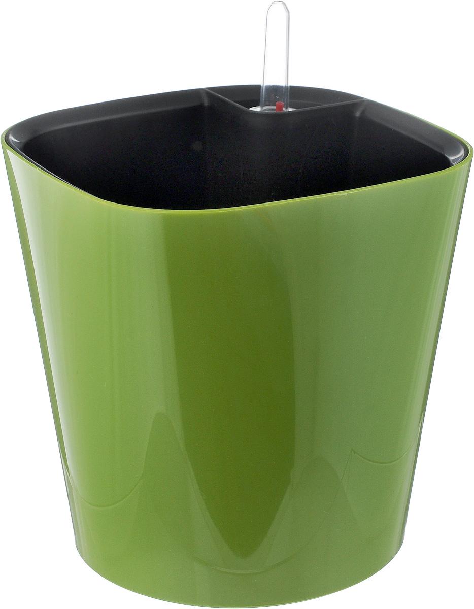Горшок для цветов Техоснастка Комфорт, с автополивом, цвет: оливковый, 3 л531-401Горшок с автополивом Техоснастка Комфорт - настоящая находка для людей, которые любят живые растения, но в силу нехватки времени не могут обеспечить им своевременный полив. Изделие выполнено из высококачественного полипропилена. Система автополива работает по принципу капиллярного поднятия жидкости к корням растения. Устроен такой горшок следующим образом: в основной горшок устанавливается съемный горшок, в котором находятся водовод и земельный субстрат, обеспечивающие доставку воды к корням, сбоку - поливочные отверстия и индикатор уровня воды. В первые недели после посадки растения в горшок вода поливается обычным способом, чтобы земля и корни напитались влагой. Она наливается во внешнюю часть горшка в поливочные отверстия и по фитилю поднимается вверх, увлажняя грунт, одного полива хватает примерно на 2-3 недели (это зависит от растения, времени года и климатических условий окружающей среды). Затем следят за индикацией уровня воды. Растение получает только то количество воды, которое ему необходимо в данный момент. Воду для полива отстаивать не нужно.Капиллярный автополив способствует насыщенному цвету листьев, обильному цветению и быстрому росту. Горшок состоит из нескольких комплектующих: индикатор уровня воды, фитиль-водовод, внутренний съемный горшок, внешний горшок. Размер горшка по верхнему краю: 18 х 18 см. Высота горшка (без учета индикатора воды): 17 см.
