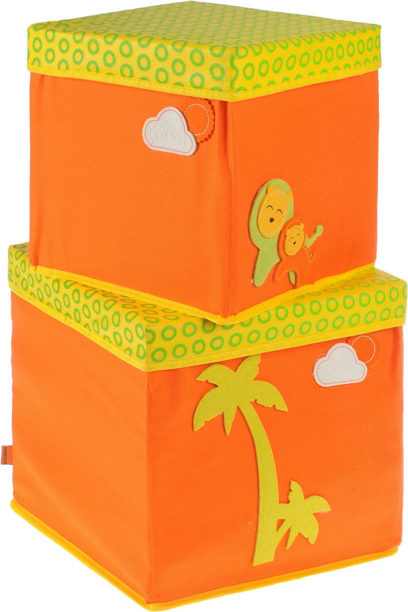 Набор коробок Все на местах Sunny Jungle, с крышками, цвет: желтый, оранжевый, 2 предмета. 1071031/119201Набор состоит из двух коробок с крышками для хранения игрушек или вещей.Изделия выполнены из высококачественного нетканого материала (спанбонда), который обеспечивает естественную вентиляцию, позволяя воздуху проникать внутрь, но не пропускаетпыль. Вставки из ПВХ хорошо держат форму.Набор коробок поможет удобно хранить вещи и игрушки. Размер коробок: 30 см х 30 см х 30 см; 25 см х 25 см х 25 см.