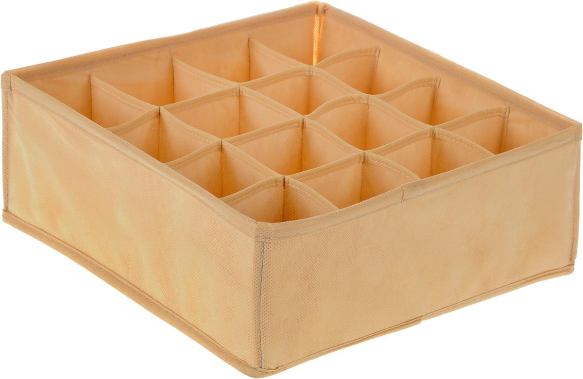 Органайзер Все на местах Minimalistic, цвет: бежевый, 16 ячеек, 32 х 32 х 12 см1011043.Органайзер Все на местах Minimalistic изготовлен из высококачественного спанбонда, который обеспечивает естественную вентиляцию. Материал позволяет воздуху свободно проникать внутрь, но не пропускает пыль. Органайзер отлично держит форму, благодаря вставкам из плотного картона. Изделие имеет 16 квадратных секций для хранения нижнего белья, колготок, носков и другой одежды. Такой органайзер позволит вам хранить вещи компактно и удобно. Изделие легко складывается и раскладывается с помощью молнии на дне. Размер секции: 8 х 8 см.