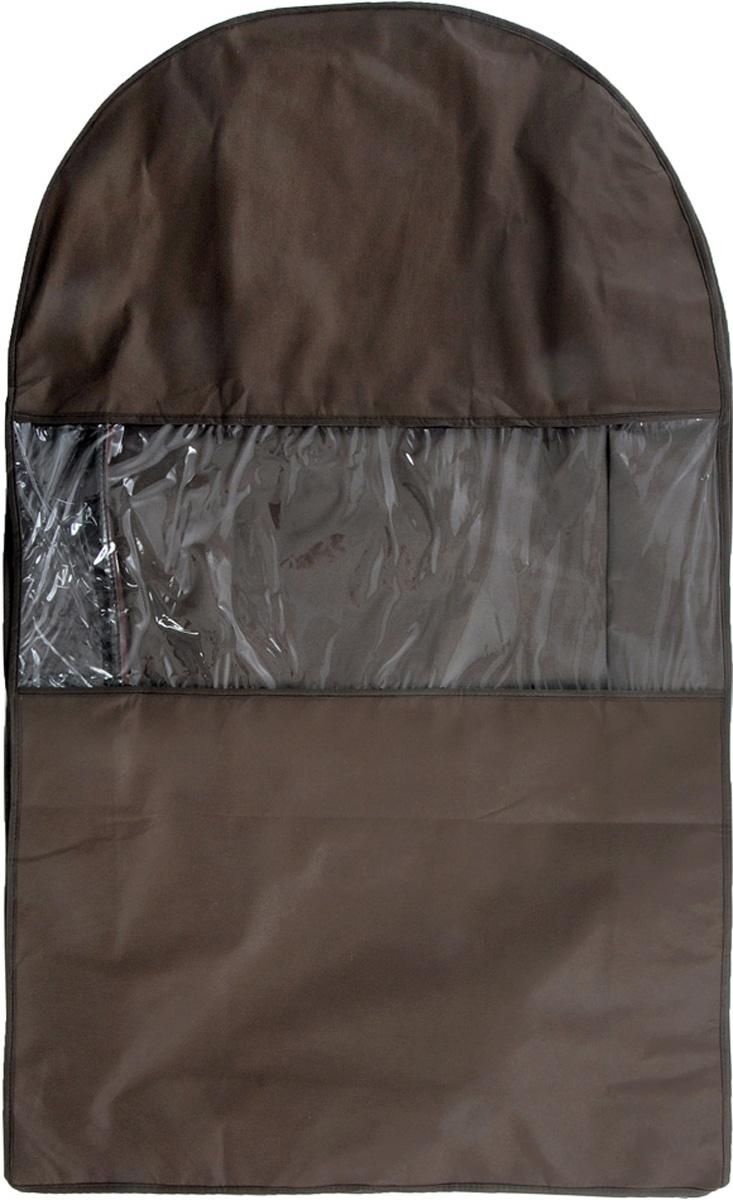 Чехол для шуб Все на местах Minimalistic. Lux, цвет: коричневый, 100 х 18 х 58 см1015033.Чехол Все на местах Minimalistic. Lux изготовлен из сочетания спанбонда и ПВХ. Изделие предназначено для хранения шуб. Нетканый материал чехла пропускает воздух, что позволяет изделиям дышать. Благодаря пластиковым вставкам, чехол идеально держит форму и его стенки не соприкасаются с мехом изделия и не приминают его. С таким чехлом шуба надежно защищена от моли, пыли и механического воздействия. Застегивается на застежку-молнию. Материал: спанбонд, ПВХ. Размеры: 100 см х 18 см х 58 см.
