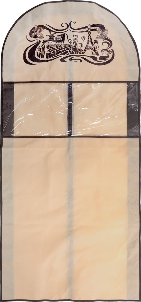 Чехол для костюма Все на местах Париж, цвет: коричневый, бежевый, 130 х 60 х 10 см1001009.