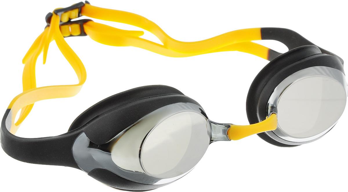 Очки для плавания Speedo Merit Mirror, цвет: черный, серый27737649Удобные очки для спортивного плавания с двойным силиконовым ремешком. Гипоаллергенные силиконовый уплотнитель и ремешок очков. Сменные носовые дужки для индивидуальной подстройки. Линзы с зеркальным покрытием снижают яркость бликов в воде. AntiFog препятствует запотеванию линз.