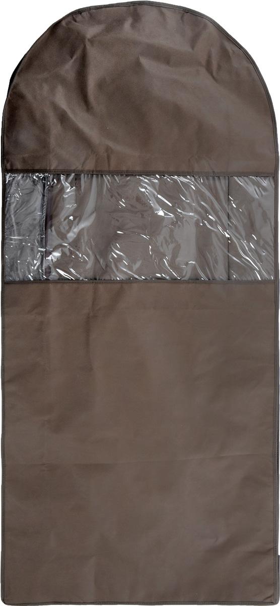 Чехол для одежды Все на местах Minimalistic, двойной, цвет: коричневый, 130 х 60 х 20 см1015034.Двойной чехол для одежды Все на местах Minimalistic выполнен из дышащего нетканого материала, который пропускает воздух, но не пропускает пыль, защищает вещи от выцветания и насекомых. Этот удобный и вместительный кофр поместятся целых шесть длинных платьев или четыре плаща. Прозрачное окошко значительно облегчает поиск необходимой вещи в гардеробе. Вам даже не придется снимать чехол с вешалки, достаточно расстегнуть молнию в боковом шве, аккуратно извлечь нужную вещь, и застегнуть чехол. Материал: спанбонд, ПВХ. Размеры: 130 х 60 х 20 см.