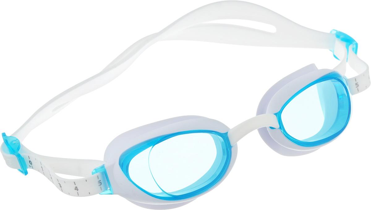 Очки для плавания Speedo Aquapure Gog Af, цвет: белый, голубой90044284Стильные очки в женском дизайне с технологией IQ FIT для оптимального комфорта. Специальная конструкция мягкого уплотнителя, учитывающего эргономику лица, минимизирует следы вокруг глаз после использования очков и обеспечивает плотное прилегание без протеканий воды. Конструкция очков предусматривает сменные носовые дужки для индивидуальной подстройки. AntiFog репятствует запотеванию линз. Голубые линзы снижают яркость бликов в воде и обеспечивают отличную видимость.
