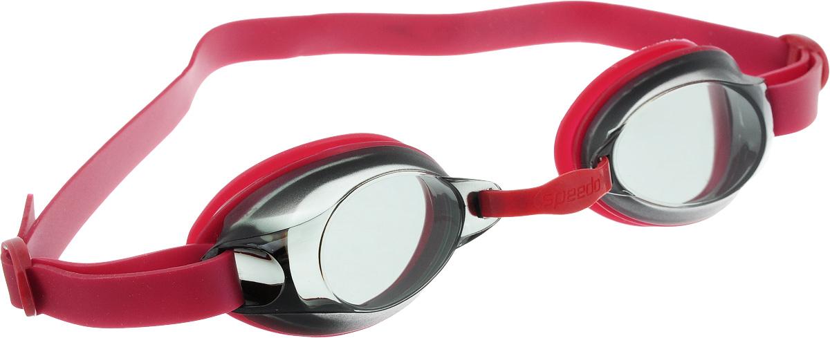 Очки для плавания Speedo Jet Junior, детские, цвет: красный, серый9298912Детские очки для активного плавания с гипоаллергенным ремешком и уплотнителем. Подстраиваемая носовая перегородка для разных типов лица. Дымчатые линзы уменьшают попадание света в глаза и снижают общую яркость без излишнего искажения цветов