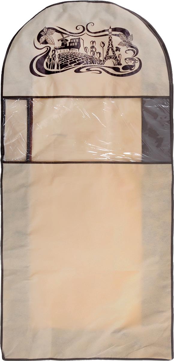 Чехол для одежды Все на местах Париж, двойной, цвет: коричневый, бежевый, 130 х 60 х 20 см1001034.Чехол Все на местах Париж изготовлен из сочетания спанбонда и ПВХ и предназначен для хранения одежды. Нетканый материал чехла пропускает воздух, что позволяет изделиям дышать. С таким чехлом любая одежда надежно защищена от пыли, запаха и механического воздействия. Застегивается на застежку-молнию. Материал: спанбонд, ПВХ.