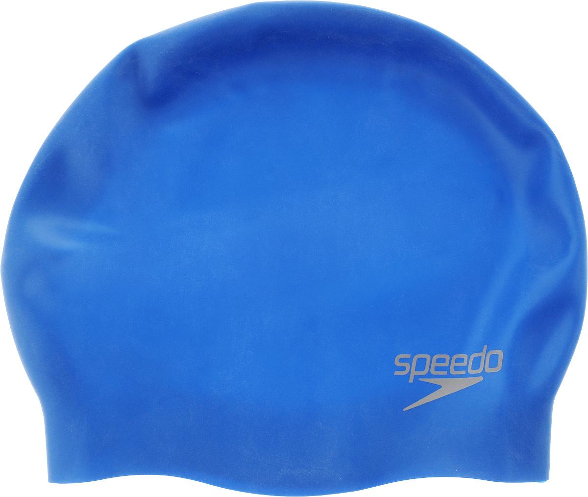 Шапочка для плавания Speedo Silc Moud Cap Au, цвет: голубойSM939B-1122Яркая силиконовая шапочка Speedo Silc Moud Cap Au обеспечивает плотное прилегание и полную защиту от попадания воды. 3D дизайн повторяет контуры головы для непревзойденного комфорта посадки. Отлично подойдет для тренировок в бассейне. Шапочка выполнена из высококачественного силикона.