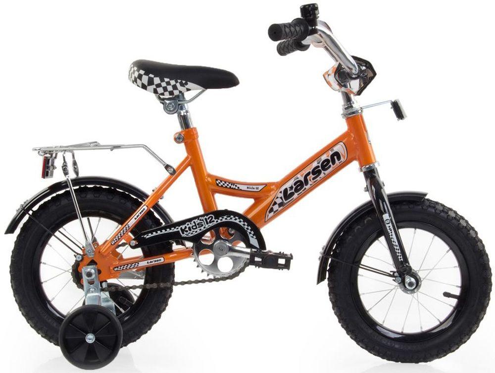 Велосипед детский Larsen Kids 12, цвет: оранжевый336206Рама: cталь Вилка: жёсткая, сталь Количество скоростей: 1 Размер колес: 12 Резина: 12х2.125 BMX PATTERN Передний переключатель: нет Задний переключатель: нет Обода: стальные усиленные 12 Тормоза: втулочные, ножные тормоза Дополнительное оборудование: гудок, отражатели, дополнительные колёса