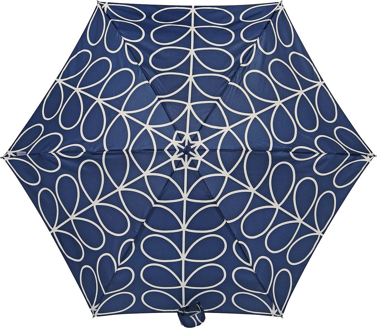Зонт женский Orla Kiely Tiny, механический, 5 сложений, цвет: темно-синий, бежевый. L744-277845100948B/32793/5900NСтильный механический зонт Orla Kiely Tiny в 5 сложений даже в ненастную погоду позволит вам оставаться элегантной. Облегченный каркас зонта выполнен из 6 спиц из фибергласса и алюминия, стержень также изготовлен из алюминия, удобная рукоятка - из дерева. Купол зонта выполнен из прочного полиэстера. В закрытом виде застегивается хлястиком на липучке. Яркий оригинальный рисунок в виде оригинальных листьев поднимет настроение в дождливый день.Зонт механического сложения: купол открывается и закрывается вручную до характерного щелчка.На рукоятке для удобства есть небольшой шнурок, позволяющий надеть зонт на руку тогда, когда это будет необходимо. К зонту прилагается чехол, который оформлен нашивкой с названием бренда. Такой зонт компактно располагается в кармане, сумочке, дверке автомобиля.