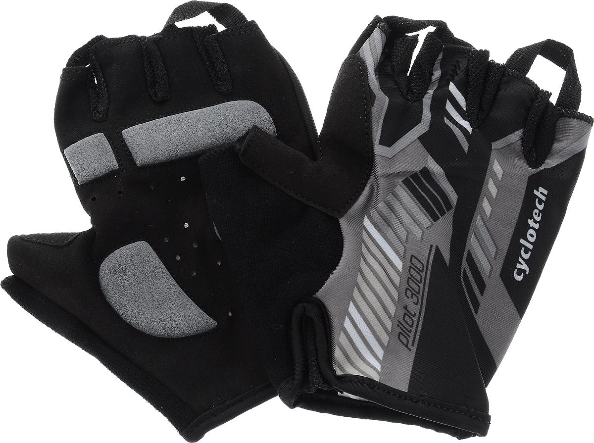 Велоперчатки Cyclotech Pilot, цвет: черный, серый. Размер LAG-Cycling shoes-26-29Велоперчатки Cyclotech Pilot отлично садятся по руке. Ладонь выполнена из полиамида и дополнена объемными вставками, тыльная сторона изготовлена из эластана и хлопка. Благодаря резинке перчатки легко надевать. Перчатки хорошо вентилируются, не дают руке скользить на руле и гасят неприятные вибрации.