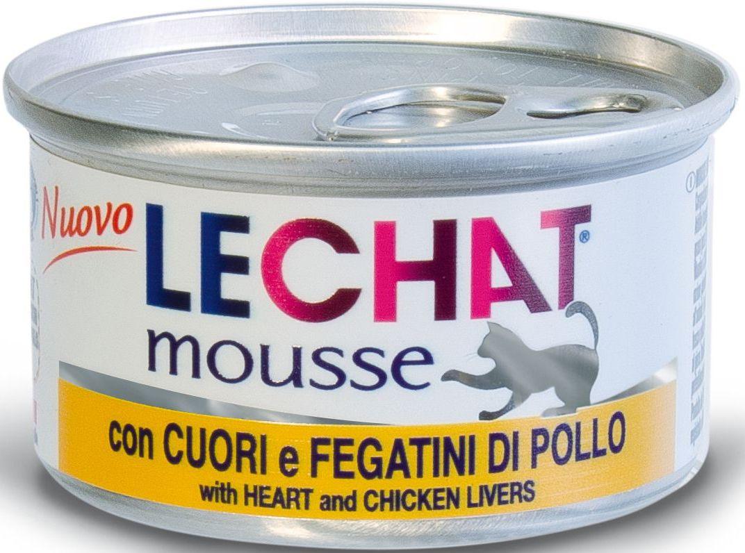 Консервы Monge Lechat mousse, для кошек, мусс с куриной печенью, 85 г70000956Lechat консервы для кошек потрошки/ягненок 85 г Мусс с сердцем и куриной печенью LeChat - это полнорационный корм для кошек. Также подходит для кормления котят. В состав входят все необходимые витамины и минеральные вещества для поддержания здоровья и активности кошки. Эксклюзивный способ приготовления - варка на пару - позволяет достичь нежной, мягкой и при этом густой консистенции продукта. Не содержит красителей, консервантов и сахара. Рекомендации по кормлению: для кошек среднего размера норма составляет 85г продукта на каждое кормление (4-5 раз в день). Подавать корм комнатной температуры. Убедитесь, что у кошки есть доступ к свежей чистой воде. Хранить при комнатной температуре, после вскрытия-в холодильнике.Сырой белок 9,5%, сырой жир 6,3%, сырая клетчатка 0,5%, сырая зола 2%, влажность 78%. витамины и добавки на 1 кг: витамин А 2500МЕ, витамин D3 250 МЕ, витамин Е 10 мг, таурин 1200мг.Свежее мясо 76% (сердце – 18%, куриная печень – 7%),...