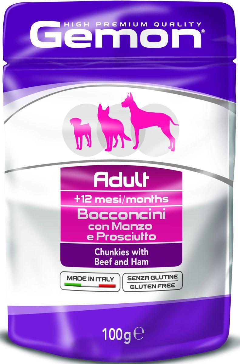 Консервы Monge Gemon Dog Pouch, для собак, кусочкиговядины с ветчиной, 100 г70300605Полноценный, сбалансированный влажный корм для собак с кусочками говядины и ветчины. Специально разработан для ежедневного кормления взрослых собак всех пород с нормальной физической активностью в возрасте 1-8 лет.Сырой белок 8,5%, сырые масла и жиры 6,5%, сырая клетчатка 0,5%, сырая зола 2,0%, влажность 79%. Витамины и добавки/кг: витамин А 2000 МЕ, витамин D3 200 МЕ, витамин Е (альфа-токоферол ацетат) 5 мг.Мясо и мясные субпродукты 45% (из нихговядины мин. 6%, ветчины мин. 6%), минеральные вещества. Технологические добавки: загустители и желеобразующие компоненты.Подавать корм комнатной температуры. Важно, чтобы животное всегда имело доступ к чистой, свежей воде. Собакам мелких пород необходимо 3-4 пауча в день. При определении суточной нормы кормления соблюдайте рекомендации Вашего ветеринарного врача.