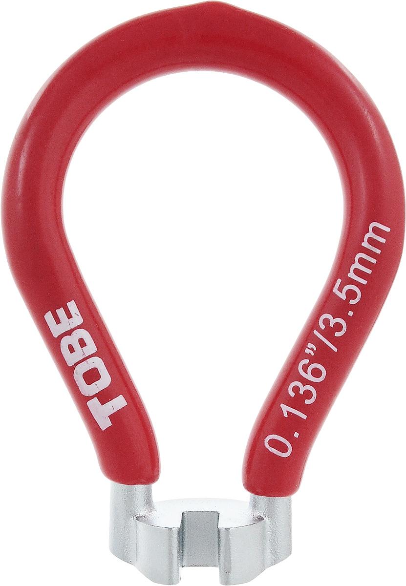 Ключ спицевой To Be, нипель 3,5 мм. 20642064Для колес и шин B556060 Одноразмерный спицевый ключ из никелированный закаленной стали с виниловым покрытием Особенности: Ниппель 3,5 мм; красный (азиатский)