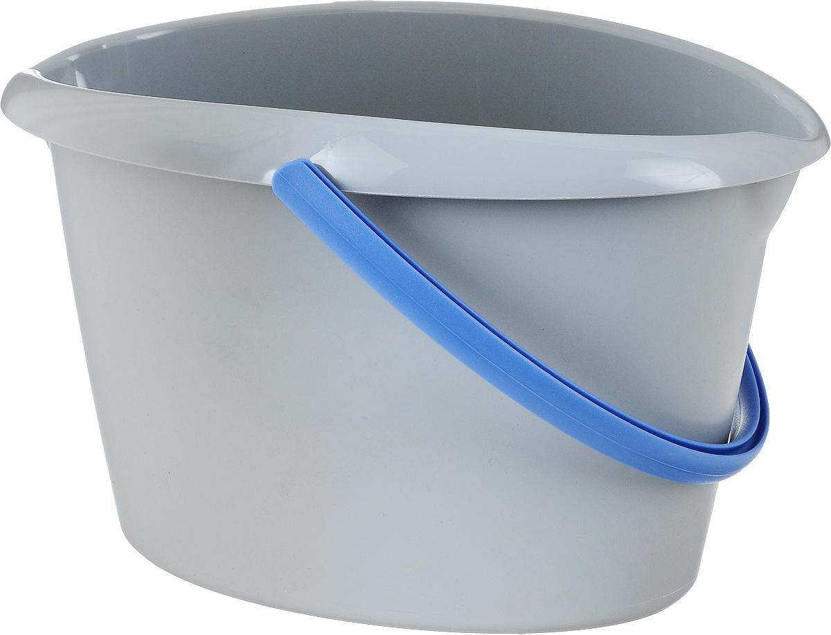 Ведро для уборки Apex, овальное, цвет: серый, голубой, 12 л10380-A_серый/голубойВедро для уборки Apex, овальное, цвет: серый, голубой, 12 л