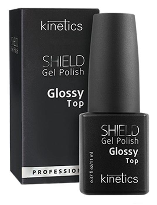 Kinetics Глянцевое верхнее покрытие для гель-лака Shield Glossy Top Coat, 11 млKGPTSНовое верхнее глянцевое покрытие Shield Glossy Top обеспечивает превосходный блеск и усиливает цвет, придавая ногтям яркий и сверкающий вид. Shield Glossy Top самовыравнивается и облегчает завершающий процесс: достаточно всего нескольких движений кисти для идеального глянцевого и сверхустойчивого покрытия!