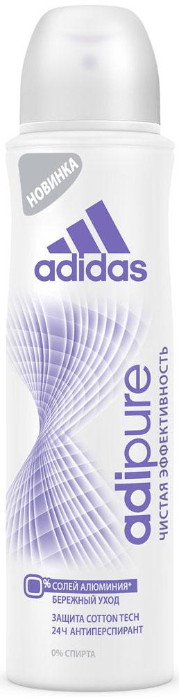 Adidas Дезодорант-антиперспирант спрей Adipure 24 ч, женский, 150 млFS-00103Первый антиперспирант без солей и алюминия. Для чистой эффективности и ухода за кожей.Формула:0% мыла;0% красителей;Ph сбалансирован.Содержит комплекс cotton-tech с увлажняющими компонентами и экстрактом хлопка. Абсорбирующая технология. 0% солей алюминия. Чистая эффективность. Прозрачная текстура.