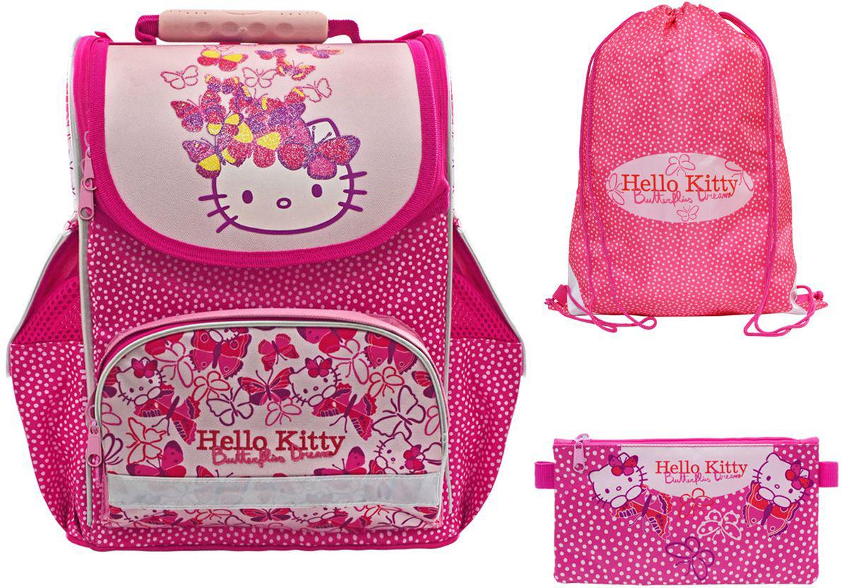 Action! Ранец школьный Hello Kitty с наполнениемHKO-ASB4000/1setЛицензионный дизайн Hello Kitty для девочек. Ранец комплектуется мешком для обуви, и пеналом-косметичкой. Жесткая рельефная анатомическая спинка повышенной комфортности, с вентилируемой системой задней спинки. Анатомический рельеф спинки повторяет естесственный изгиб позвоночника, что позволяет держать спину прямо и оптимально распределять нагрузку на спину ребёнка, а также создает дополнительный комфорт для ношения ранца на спине. Вес рюкзака составляет меньше 900 г, что соответствует идеальным нормам нагрузки на спину. На нижнем кармане лицевой стороны имеется светоотражающая полоска безопасности по всему периметру кармана. Два боковых кармана и задние лямки со светоотражающими элементами безопасности. Устойчивое дно защищено водооталкивающим материалом и имеет 4 пластиковые ножки для большей устойчивости. Мешок для обуви, размером 43х34 см, имеет на лицевой стороне 2 светоотражающие полоски. Имеются фиксаторы положения. Без кармана. Пенал-косметичка,...
