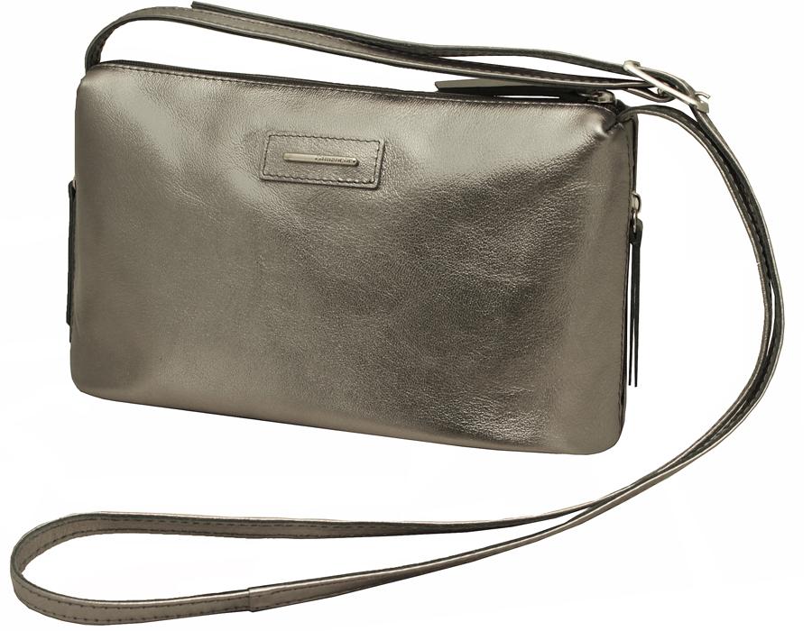Сумка женская Dimanche Лили, цвет: серый. 277/78BP-001 BKЖенская сумка из натуральной кожи с модным металлическим блеском. В торцах оригинальные удобные карманы на молнии. Внутри на одной стороне большой карман на молнии, на другой - два открытых кармашка. Ремень для ношения на плече регулируется по длине до 120см.