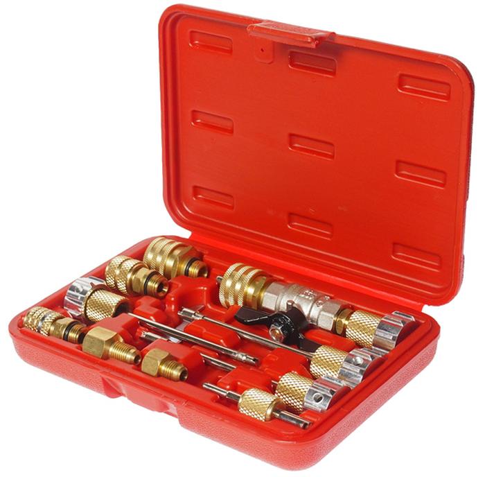 JTC Набор для снятия и установки клапанов кондиционира. JTC-1360AJTC-1360AПрименение комплекта позволяет заменить клапаны кондиционера без разгерметизации системы и потери хладагента. В комплект входит фиксирующее приспособление, которое удерживает шток клапана во время замены клапана. В комплекте: Клапан. Стандартный съемник клапана. Стандартный съемник клапана GM большого диаметра. Съемник клапана JRA R134. Съемник клапана Вольво (Volvo) и 8 мм. Коннектор R134а HO16. Коннектор R134а LO13. Коннектор поворотный 5/16;FL. Коннектор поворотный 1/4;FL. Адаптер 1/4;Мх3/16;F. Адаптер 1/4;Мх1/2;F ACMEF. Ключ М14. Съемник клапанов линий высокого и низкого давления. Габаритные размеры: 200/135/40 мм. (Д/Ш/В) Вес: 814 гр.