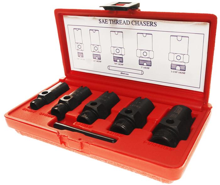 JTC Набор для восстановления метрических резьб штуцеров систем кондиционирования. JTC-1363JTC-1363Специально предназначен для восстановления метрических резьб газовых и жидкостных штуцеров системы кондиционирования, гидравлической и газовой системы. На каждом метчике указан номер, их можно использовать для определения размера резьбы. Подходит для восстановления наружной и внутренней резьбы. Размеры: 5/8х18UNF, 3/4х16UNF, 7/8х14UNF, 1х14UNF, 11/16х14UNF.