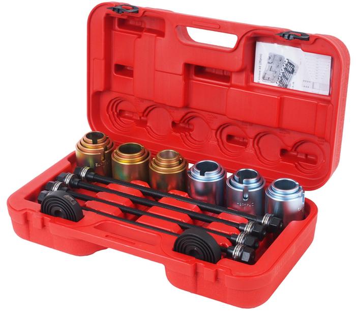 JTC Набор для снятия и установки втулок, универсальный. JTC-4091JTC-4091Универсальный набор используется для снятия и установки подшипников , подшипников с резиновой втулкой, сайлентблоков, втулок. Подходит для большинства автомобилей. Гильзы 20 шт.: внутренний диаметр 34-72 мм. (с шагом 2 мм.); Опорные диски 2 шт., применяется с гильзами. Болты длина: 450 мм: M10, M12, M14, M16. Упаковка: прочный переносной кейс. Габаритные размеры: 600/250/70 мм. (Д/Ш/В) Вес: 3300 гр.
