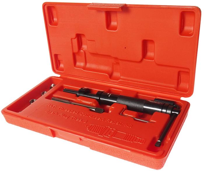 """JTC Набор для восстановления резьбы свечей зажигания, пружинная вставка, 5 шт. JTC-43095104Набор специально предназначен для реконструкции резьбы свечей зажигания.В комплект входит направляющая втулка, специальные метчики и шестигранный ключ.Характеристики вставок: М10х1.0 (3/8"""") – 5 шт.Размер: М10х1.0.Габаритные размеры: 240/120/40 мм. (Д/Ш/В)Вес: 420 гр."""