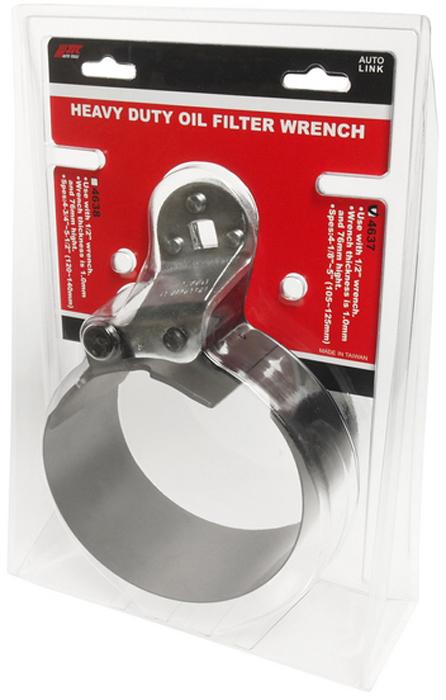 JTC Ключ для снятия масляного фильтра ленточный усиленный, 105-125 мм. JTC-4637JTC-4637Используется с ключом 1/2. Толщина ленты 1,0 мм, высота - 76 мм. Диаметр захвата: 4-1/8 - 5 (105-125 мм).