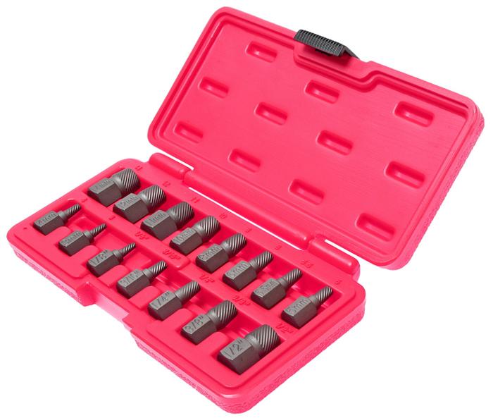 JTC Набор экстракторов, 15 предметов. JTC-46395104Используется с гаечным ключом или головкой. Специальная укороченная конструкция позволяет использовать приспособление в условиях ограниченного пространства. Вбить инструмент в поврежденный болт и затем вывернуть. Материал: Хроммолибденовая сталь. Размеры: 3, 4, 5, 5.5, 6, 8, 10, 11, 12, 14 мм., а также 1/8, 3/16, 1/4, 3/8, 1/2. Общее количество предметов в наборе: 15.Упаковка: прочный пластиковый кейс. Габаритные размеры: 200/100/30 мм. (Д/Ш/В) Вес: 508 гр.