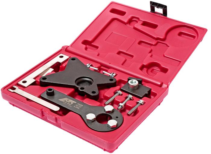 JTC Набор фиксаторов валов и натяжного устройства приводного ремня для Fiat. JTC-49292706 (ПО)В комплекте:Фиксатор коленчатого вала. Фиксатор распредвала. Фиксатор натяжного устройства для двигателя 1.2. Дополнительные фиксаторы зубчатых колес. Центрирующее приспособление для распредвала двигателя 1.4WT.Применение: Фиат (Fiat) 500, Idea, Linea, Punto, Doblo, Panda, Ev02 и Форд (Ford) KA. Двигатели: 1.2 - 169A4.000. 199A4.000.1.2 - 188A4.000 (EV02 только),1.4 (16V) - 350A1.000. Упаковка: прочный переносной кейс. Габаритные размеры: 215/170/50 мм. (Д/Ш/В) Вес: 1013 гр.