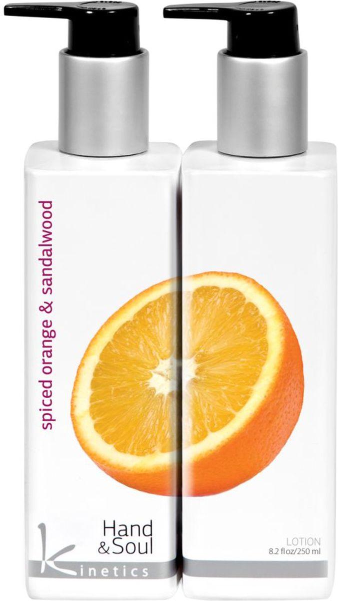 Kinetics Лосьон для рук Пряный апельсин и сандаловое дерево, 250 млKL003Восточные пряности и цитрусовые, на основе успокаивающего сандала, помогают в медитациях и новых экспериментах. Верхняя нота - ароматы кориандра, кардамона, мускатного ореха дарят настроение для отдыха и прогулки. Нота сердца - окунитесь в негу ароматов фиалки и жасмина. Аромат цветов увлечет вас в мир гармонии и релаксации. Базовая нота - ароматные ноты сандалового дерева и солнечный оттенок апельсина нашли компромисс на мирное сосуществование. Характеристики: Объем: 250 мл. Артикул: KL003. Производитель: Италия. Товар сертифицирован.