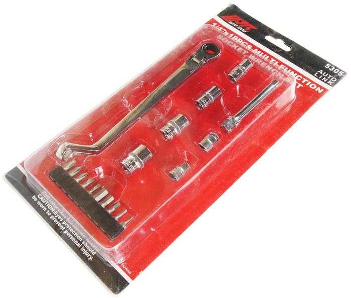 """JTC Набор торцевых головок многофункциональный, 18 шт. JTC-53052706 (ПО)В комплекте: Многофункциональный торцевой ключ - 1 шт. Головки под ключ 1/4"""": 7, 8, 10, 12 мм. - 4 шт. Удлинитель на 3/8""""х75 мм. - 1 шт. Адаптер 1/4"""" - 1 шт. Адаптер для бит 1/4"""" - 1 шт. Биты шестигранные: 2, 3, 4, 5, 6 - 5 шт. Биты шлицевые: 3, 4 - 2 шт. Биты PH: 1, 2, 3 - 3 шт.Общее количество предметов: 18. Упаковка: прочный пластиковый кейс. Габаритные размеры: 315/158/80 мм. (Д/Ш/В)Вес: 3200 гр."""