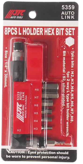 JTC Набор вставок 1/4DR 6-гранных HEX 2,3,4,5,6,7,8, с Г-образным держателем, 8 предметов. JTC-53595104Набор Бит-вставок 1/4 DR H2, H3, H4, H5, H6, H7, H8 и Г-образным держателем 8 пр. JTCМатериал: Сталь S2Поверхность посеребряннаяРазмер: 30 мм